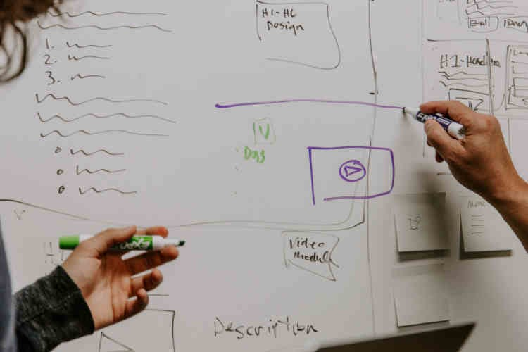 Custom Home, Renovation or Remodel project meeting using whiteboard